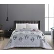szürke pink cicás kétoldalas steppelt ágytakaró egyszemélyes ágyra