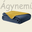 Kék-sárga steppelt kétoldalas ágytakaró egyszemélyes ágyra (170x210)