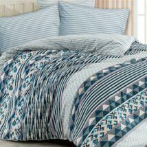 Csíkos mintás kék luxus pamut ágyneműhuzat