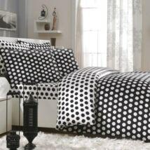 Fekete-fehér pöttyös pamutszatén dupla ágyneműhuzat