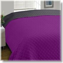 Kétoldalas püspöklila-szürke steppelt ágytakaró (170*210 cm)
