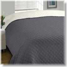 Kétoldalas grafit-törtfehér steppelt ágytakaró (170*210 cm)