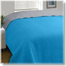 Kétoldalas türkizkék-szürke steppelt ágytakaró (200*220cm)