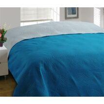 Kétoldalas türkizkék-szürke steppelt ágytakaró