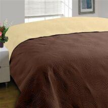 Kétoldalas pöttyös steppelt barna ágytakaró (220x240