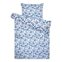 Kék szívecskés ovis krepp ágyneműhuzat