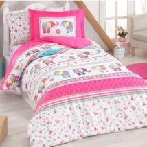 Pink elefántos pamut ágyneműhuzat