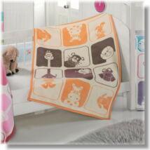 Narancs-barna állatfiurás babapléd