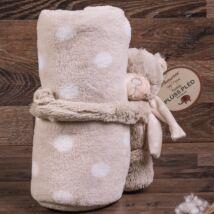 Világos barna pöttyös puha plüss baba pléd Teddy macival