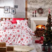 Piros fehér hópihés flanel karácsonyi ágyneműhuzat