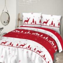 Piros rénszarvasos karácsonyi flanel ágyneműhuzat