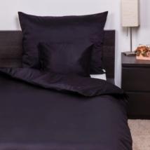 Fekete pamutszatén ágyneműhuzat