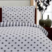 Fekete-fehér pöttyös pamut ágyneműhuzat