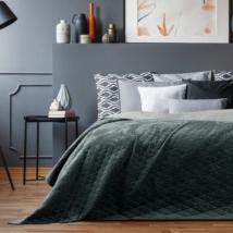Grafit-ezüst kétoldalas steppelt ágytakaró