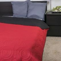 Kétoldalas piros fekete dupla ágytakaró (235*250 cm)