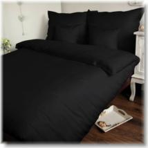 Fekete 140*200 cm-es pamutszatén paplanhuzat