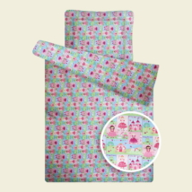 Rózsaszín királylányos steppelt ovis paplan párna szett