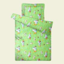 Zöld kacsás steppelt ovis paplan párna szett