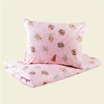 Rózsaszín cicás pamut ovis ágyneműhuzat