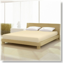 Világos bézs pamut elastan classic gumis lepedő alacsony matracra