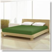 Moha zöld színű pamut elastan classic gumis lepedő alacsony matracra