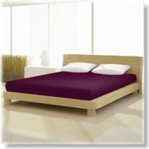 padlizsán színű pamut elastan classic gumis lepedő alacsony matracra
