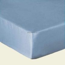 Világos kék pamutszatén gumis lepedő 160x200