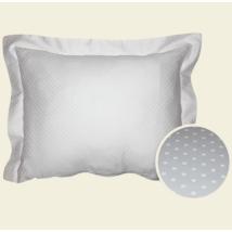 Fehér pöttyös damaszt kispárnahuzat, 40*50 cm