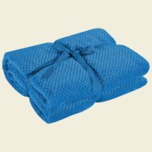 Kék puha egyszínű pöttyös ovispléd (70x150)