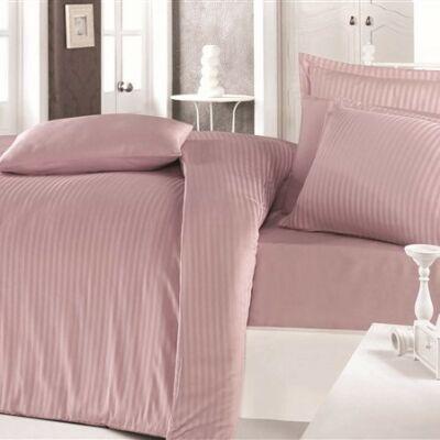 Fáradt rózsaszín csíkos  pamutszatén kétszemélyes ágyneműhuzat