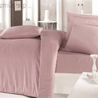 Fáradt rózsaszín csíkos damaszt kétszemélyes ágyneműhuzat