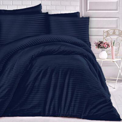 Tengerész kék csíkos damaszt ágynműhuzat