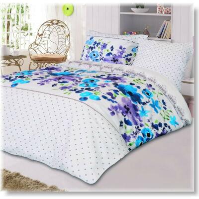 Malaga kék virágos  pamutszatén ágyneműhuzat