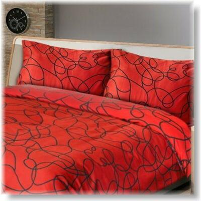 Vörös és fekete pamutszatén ágyneműhuzat