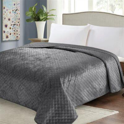 Sötét szürke  kétoldalas steppelt ágytakaró