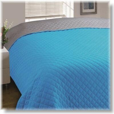 Türkiz kék-szürke kétoldalas steppelt ágytakaró