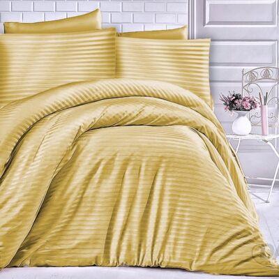 Mustár színű csíkos damaszt ágyneműhuzat