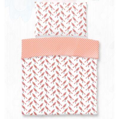 Rózsaszín madárkás ovis pamut ágyneműhuzat