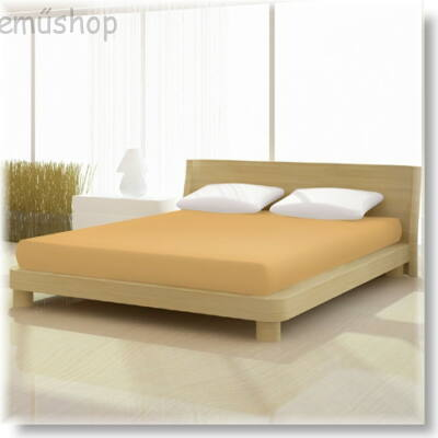 Pamut jersey de luxe gumis lepedő 120x200 és 130x200 cm-es matracra világos karamell