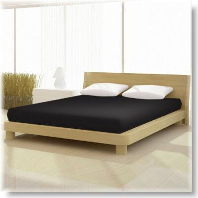 Pamut jersey de luxe gumis lepedő 120x200 és 130x200 cm-es matracra fekete