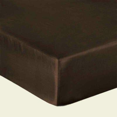 csokibarna pamutszatén gumis lepedő