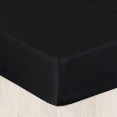 fekete pamutszatén gumis lepedő