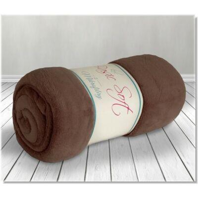Csokoládébarna puha plüss takaró