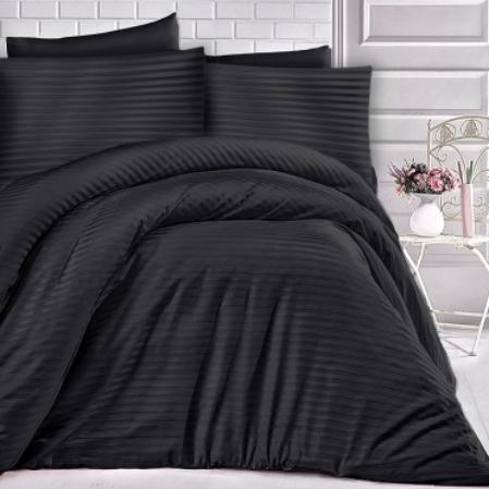 Fekete csíkos pamutszatén ágyneműhuzat