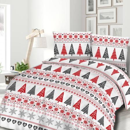 Fenyőfás hópihés flanel karácsonyi ágyneműhuzat