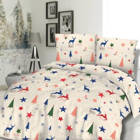 Krémszínű rénszarvasos karácsonyi ágyneműhuzat