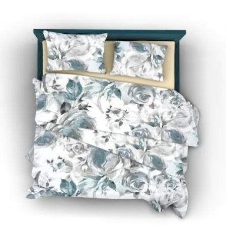 Blue rose virágos pamutszatén ágyneműhuzat