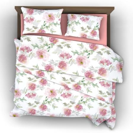 Romantikus rózsás pamutszatén ágyneműhuzat