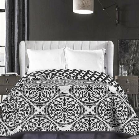 Fekete-fehér mandala steppelt ágytakaró (220x240)