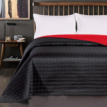 Fekete-piros kétoldalas  steppelt ágytakaró (170x210)